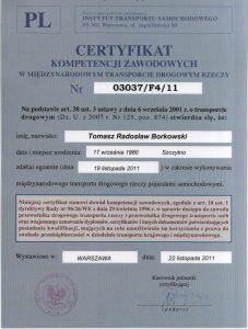Certyfikat kompetencji zawodowych w międzynarodowym transporcie drogowym rzeczy
